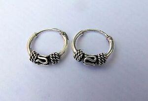 Pair Of Sterling Silver Bali  Hoop Earrings 10 mm  !!       Brand New !!