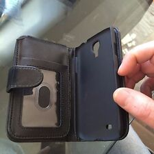 Hanicase Genuine Black Leather Wallet card flip cover Samgung Galazy S4