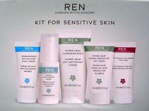 REN 5PC Kit Sensitive Skin Day & Night Moisturizer Mask Cleanser NIB