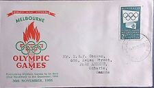 Australia 1955 2/- Olympic Games Stamp on First Day Cover.