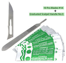 10 Scalpel Blades 14 Includes 3 Metal Handle Suitable For Dermaplaning Crafts