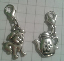 """TIBETAN SILVER 2 CHARMS"""" PUPPY , COFFEE POT,FOR CHARM BRACELET OR  TINY PURSES"""