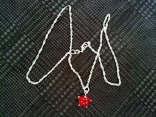 Cadena + colgante flor roja en chap. plata 925