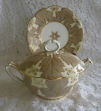 BROWN WESTHEAD MOORE Cauldon Ware SAUCE BOAT / CONDIMENT DISH & LID  UNDER PLATE