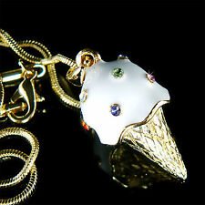 w Swarovski Crystal Cute ~3D White Vanilla ICE CREAM CONE Charm Pendant Necklace
