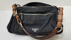 Prada Nylon Black Leather Handbag Small