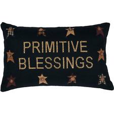 "Black Felt FARMHOUSE STYLE Pillow ""Primitive Blessings"" Embroidered inTan 14""x22"