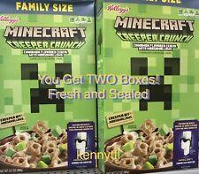 2x Kellogg's MINECRAFT Cereal 12.7oz Creeper Crunch W/ Code! INTERNATIONAL SHIP!