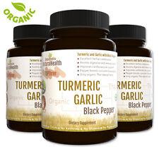 Turmeric, Garlic & Black Pepper: 270 Capsules Organic Curcumin Piperine 500 mg