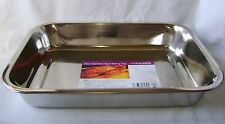"NEW STAINLESS STEEL ROASTING BAKING TRAY OVEN TIN 36cm 14"" PRIMA"