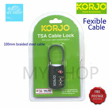 KORJO TSA 3 DIAL LUGGAGE COMBINATION  LOCK  WITH CABLE SHACKLE -BLACK