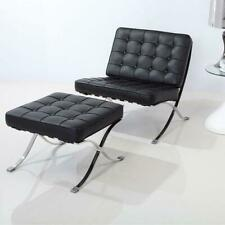 Barcelona Chair And Footstool Ottoman Genuine leather Black (Chair + Stool)