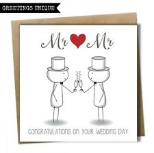 Fun Congratulations Wedding Day Card Mr and Mr Groom Same Sex Gay Civil Wedding