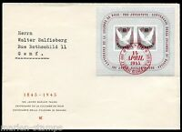 SWITZERLAND SC# B144 FIRST DAY COVER BASEL 4/14/45 TO GENEVA AS SHOWN