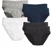 Pack of 2 BLACK GREY WHITE or BLUE Stretch Cotton Sports Briefs Pants Slips