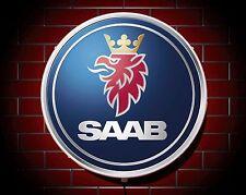 SAAB LED 600mm ILLUMINATED WALL LIGHT CAR BADGE GARAGE SIGN LOGO MAN CAVE