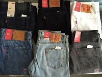 Levis Jeans Mens 511 slim fit Denim 100% original NWT Different Colors