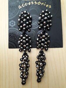 BNWT Accesories Black Enamel/Marcasite Chandelier Design EarrIngs Drop 8 cm