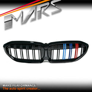 Gloss Black M3 Stripe Style Front Bumper Grille Grill for BMW 3-Series G20 G21