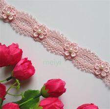 1yd Vintage Flower Pearl Lace Edge Trim Wedding Ribbon Applique Sewing Craft DIY