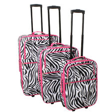 All-Seasons Combination Lock 3-Piece Upright Luggage Set - Pink Zebra Trim