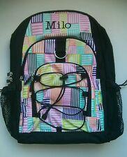 Pottery Barn PB Teen Black Colorful Geometric Gear Up Large Backpack name MILO
