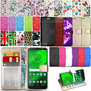 For Motorola Moto G6 G7 G6 Play Phone Cover Wallet Leather Case Flip Heavy-Duty