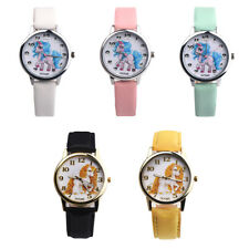 Girl Kids Cute Cartoon Unicorn Christmas leather Wrist band Watch Gift for her