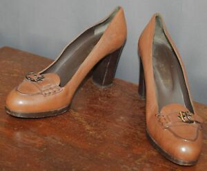 Ladies' Bally Brown Leather  Buckle Front Heels Size US 9.5