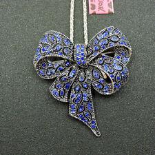 New Bling Betsey Johnson Blue Enamel Crystal Bowknot Pendant Chain Necklace