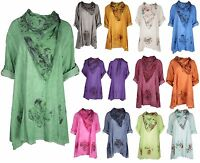 Plus Size Women Italian Lagenlook Quirky Floral Tunic Cotton Summer Top Shirt