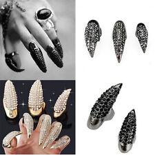 5pcs Katze Klaue falsche Nagel schwarz Crystal Talon Pfote Mode Finger Ring