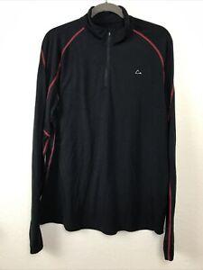 Merino Blend by Paradox black 1/4 zip-neck pullover/underlayer/shirt - Mens L