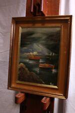 Quadro dipinto olio su tela con cornice e vetro raffigurante paesaggio XX sec