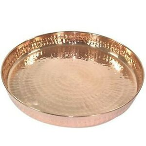 Indian Pure Copper Hammered Dinner Thali Traditional Indian Style