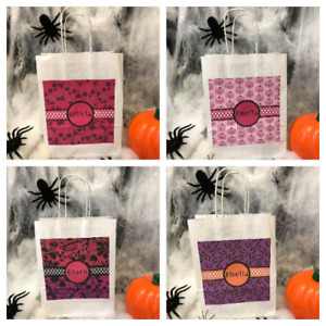 Personalised Girls Happy Halloween Trick or Treat Bags Party Bags Loot Bag