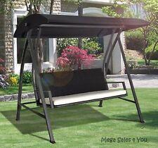 Large Black Rattan Swing Garden 4 Seat Chair Hammock Cushion Lounge Outdoor NEW