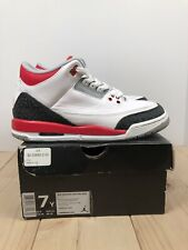 """Air Jordan 3 Retro (GS) Basketball Shoes """"Fire Red"""" Kids Size 7Y Womens Size 8.5"""