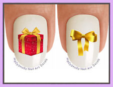 Nail Decals #826X CHRISTMAS Xmas Bow and Gift GOLD WaterSlide Nail Art Transfers