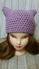 Orchid purple kitty pussy cat ears chunky hat crochet womans hand made beanie