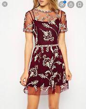 "Needle & Thread Embellished ""Blossom"" Dress Red UK14"