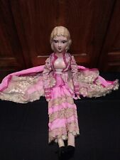 Antique Socialite French Boudoir Bed Doll All Decked Out Circa 1920's!