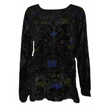 VINTAGE INSPIRED CRUSHED VELVET DUAL COLOUR EMBROIDERED TUNIC SHIRT