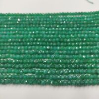 Natural Gemstone Green Onyx Semi Precious Rondelle Faceted Beads Strand G07G020L