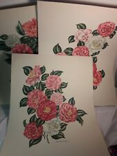 Set of 3 Lila Moore Keen Lady of the Camellias 1952s Floral Prints 20x16