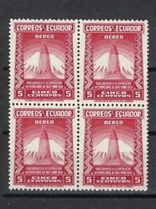Ecuador 1939 Sc# C81 Airmail Empire State building 5c Mountain Peak block 4 MNH