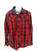 G-STAR RAW Womens Shirt L Large Red Blue Check Cotton