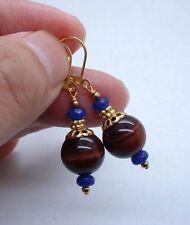 Bold Red Tiger Eye W. Blue Chalcedony Gold Earrings --- Leverbacks  A0511