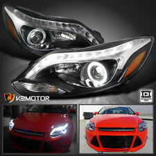 For Black 2012-2014 Ford Focus Halo+LED Strip Projector Headlights Left+Right