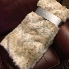 Nicole Miller Snow Leopard Faux Fur Throw Blanket Tan Cream Plush Lux 50x60 NEW